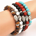 Natural Real Stone Buddha Charm Bracelets Men Women Agate Turquoise Tiger Eye Bracelets Antique Silver Plated Pulseira Masculina