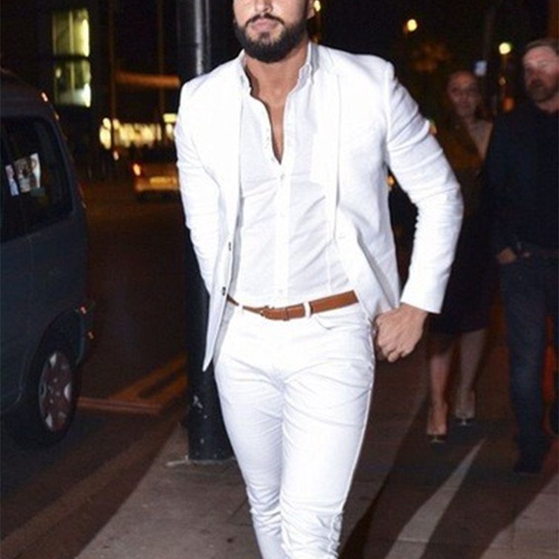 2019 Street Fashion White Men Suits Casual Terno Slim Fit 2 Pieces Tuxedo Custom Blazer Office Men Work Wear Suit (Jacket+Pants)