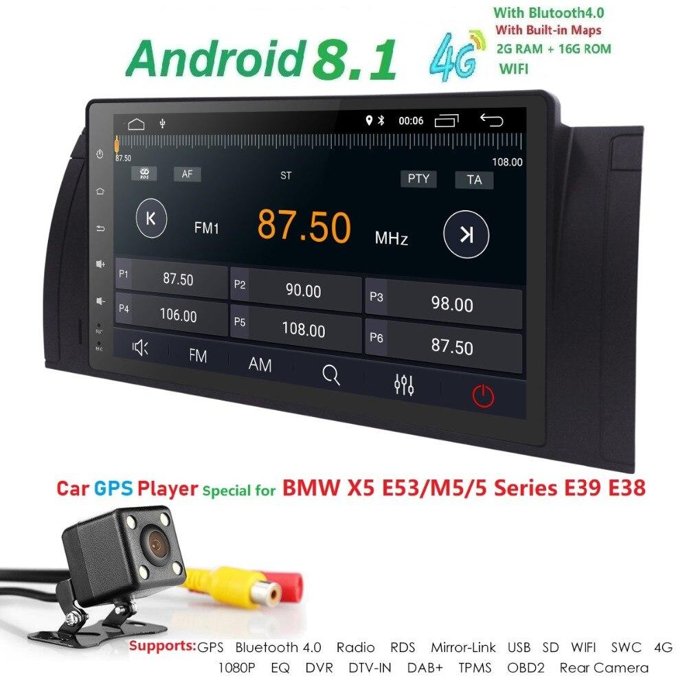 Hizpo 9 pouces 1024x600 HD écran tactile 1 din Android 7.1 voiture multimédia Radio stéréo pour BMW E39 E53 X5 Wifi 3G Bluetooth DVR RDS - 5