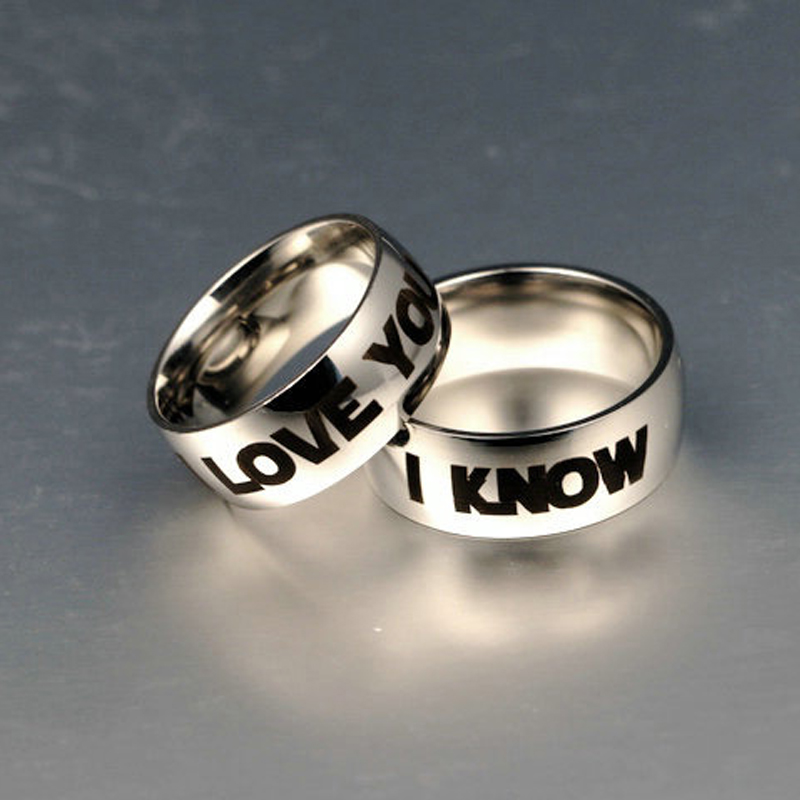 a8d172b708 Silver 8MM I Love You I Know Couples Rings Star Wars Lovers Ring for Man or  Woman Titanium Steel Jewelry Gift-in Wedding Bands from Jewelry &  Accessories on ...