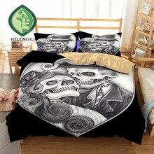 HELENGILI 3D комплект постельного белья с принтом черепа пододеяльник комплект Реалистичная постельное белье с наволочкой Комплект постельного белья домашний текстиль #2-24