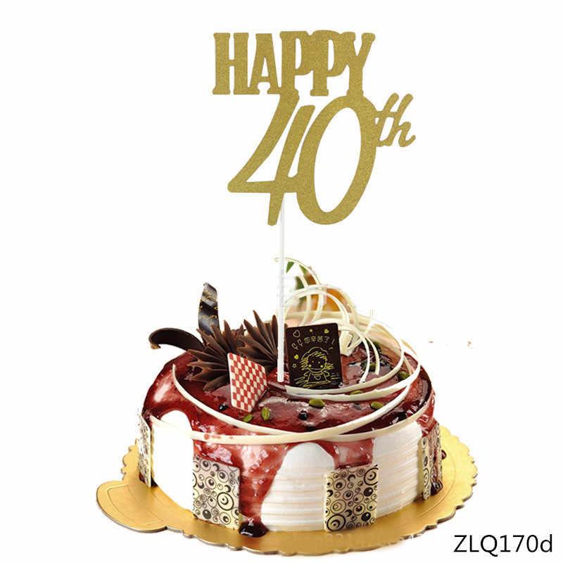 1 pc 10th/20th/30th/40th/50th/60th توبر بريق كعكة توبر أعلام الزفاف/ عيد ميلاد/حزب الخبز كعكة لوازم الديكور