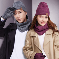 New High Quality Plus Men's Cap Warm Hat Scarf Touch Gloves Three Sets Men Hat Gloves Scarf Free Shipping
