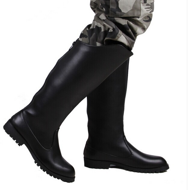 Online Shop 2015 men leather military army boots knee high boots ...