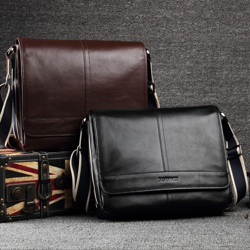 739aea6e14 High-end Head Abortive Calfskin Business Briefcase Soft Genuine Leather Messenger  Bag Black Men Shoulder   Crossbody Bags(XW116)