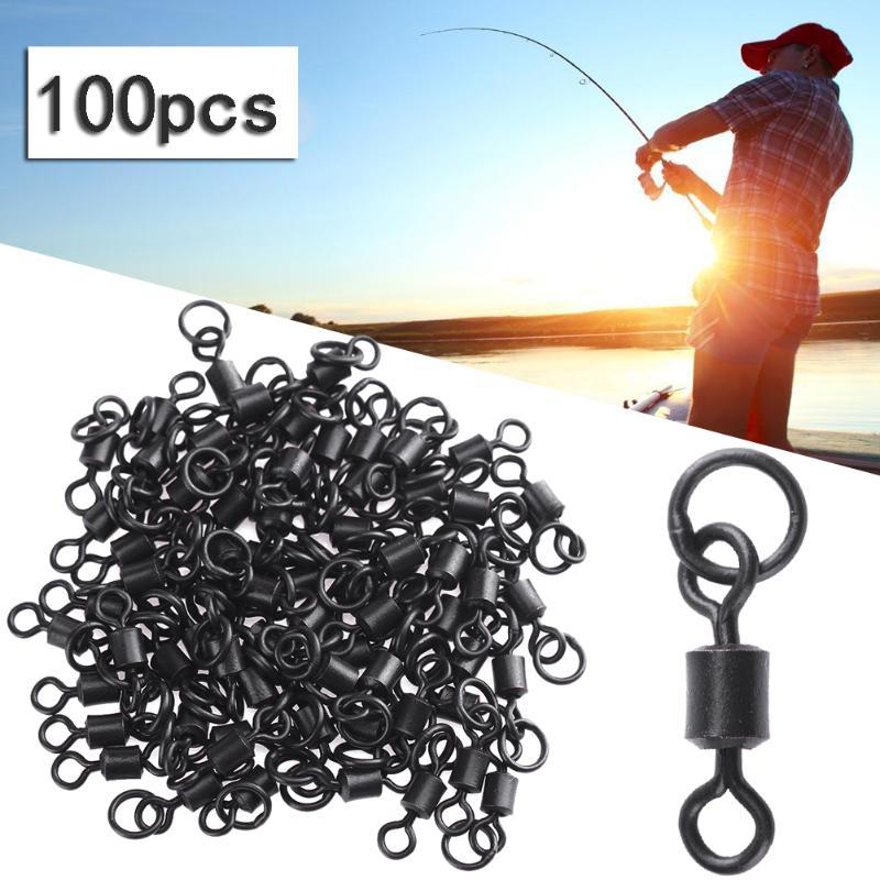 100 piezas fuertes giratorias de pesca con anillos s/ólidos de l/ínea de pesca a gancho clip giratorio conector de pesca de carpas terminales accesorios 20 mm