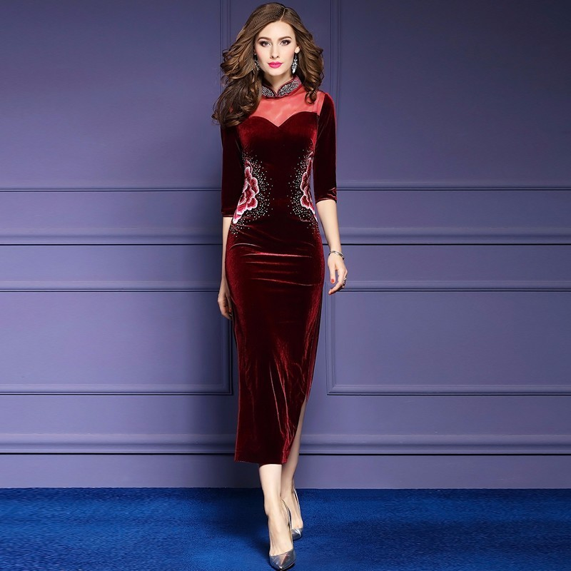 2017 Embroidery Tulle Backless Cheongsam Sexy Qipao Long Cheongsams Velour Red Chinese Traditional Dress Robe Party Dresses