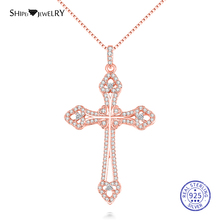 Shipei 100% 925 Sterling Silver Fine Jewelry Rose Gold Yellow Gold White Sapphire Cross Pendant Chain Necklace for Women Men 1 carat round cut simple bezel set solitaire 14k yellow white rose gold black moissanites necklace fine jewelry necklace chain