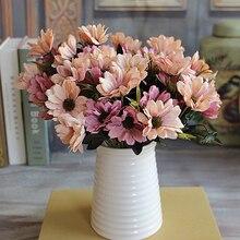Ramo de flores artificiales, 6 ramas, 10 cabezas, flores de seda, Margarita de primavera, flores artificiales para decoración del hogar