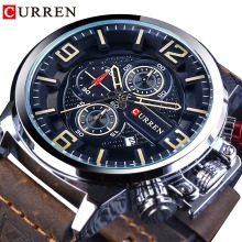 CURREN Outdoor Sport Date Chronograph Brown Belt Waterproof Military Casual Wristwatch Top Brand Luxury 3 Dial Male Quartz Clock
