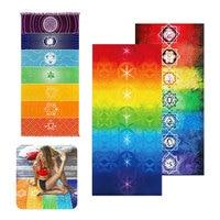 Hot Sale Rainbow Beach Mat Yoga Mat Mandala Blanket Wall Hanging Tapestry Stripe Towel Yoga Mats Home Colorful Decor Carpet