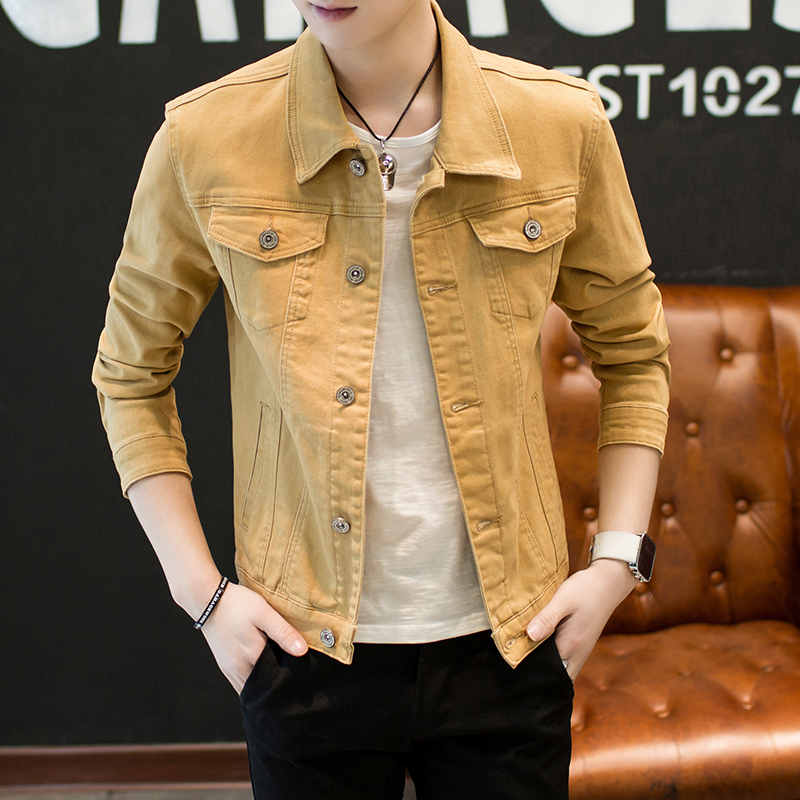 New 2020 Autumn Fashion Denim Jacket Of Cultivate One's Morality Men  Yellow Denim Jacket