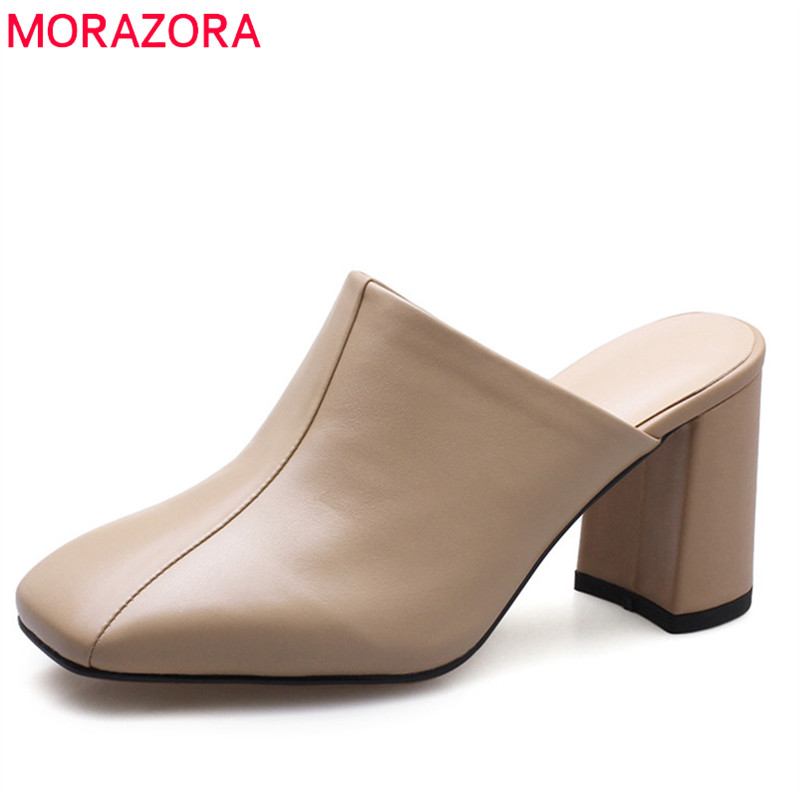MORAZORA 2020 new genuine leather shoes slip on shallow women sandals solid color elegant party shoes