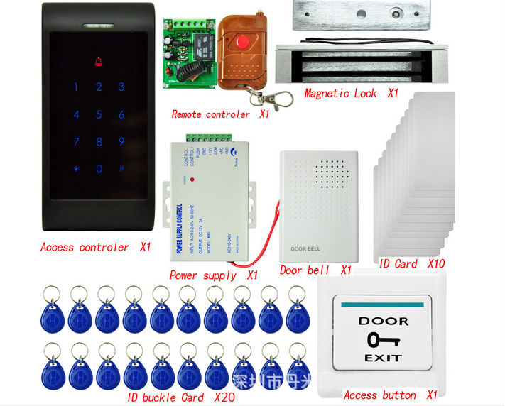 Home Security Rfid Door Access Control System 125Khz Rfid Card Access Control System Kit + Electric Magnetic Lock & Power Supply