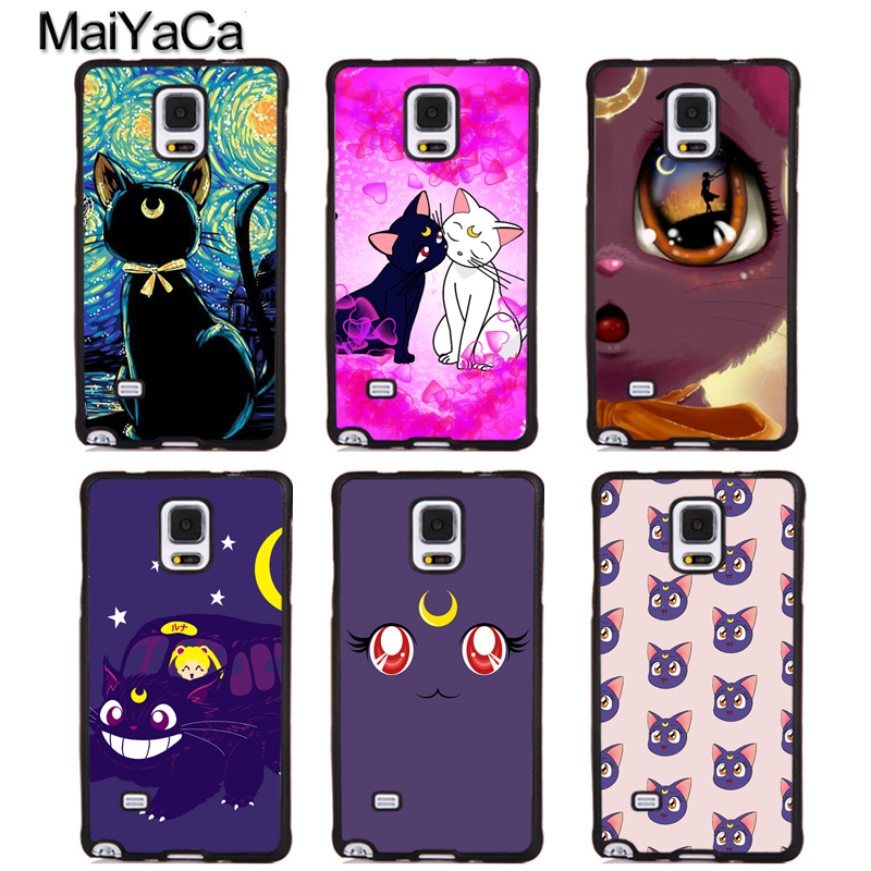 MaiYaCa Luna Cat Sailor Moon Printed Soft Rubber Phone Cases For Samsung Galaxy S5 S6 S7 edge plus S8 S9 plus Note 4 5 8 Cover