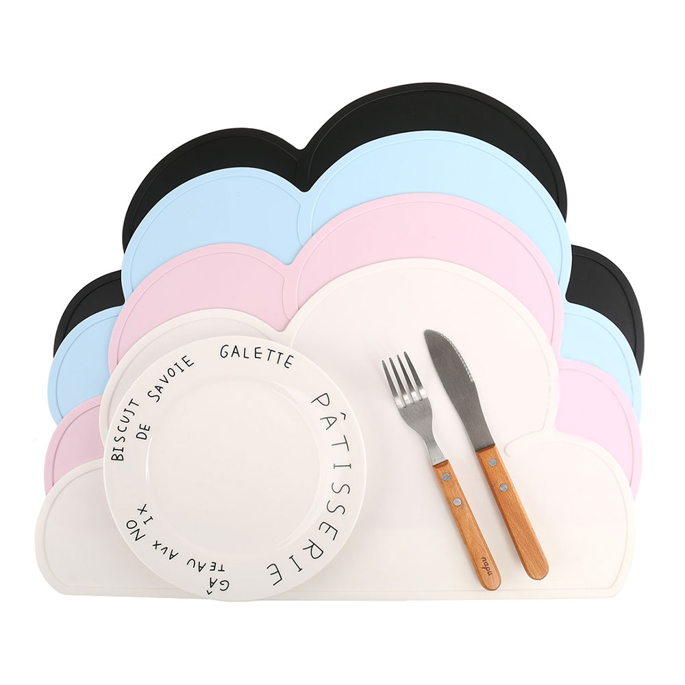 G&T Waterproof Silicone Placemat Mat 48x27cm Baby Kids Cloud Shaped Plate Mat Heat-resistant Table Mat Set Home Kitchen Pads