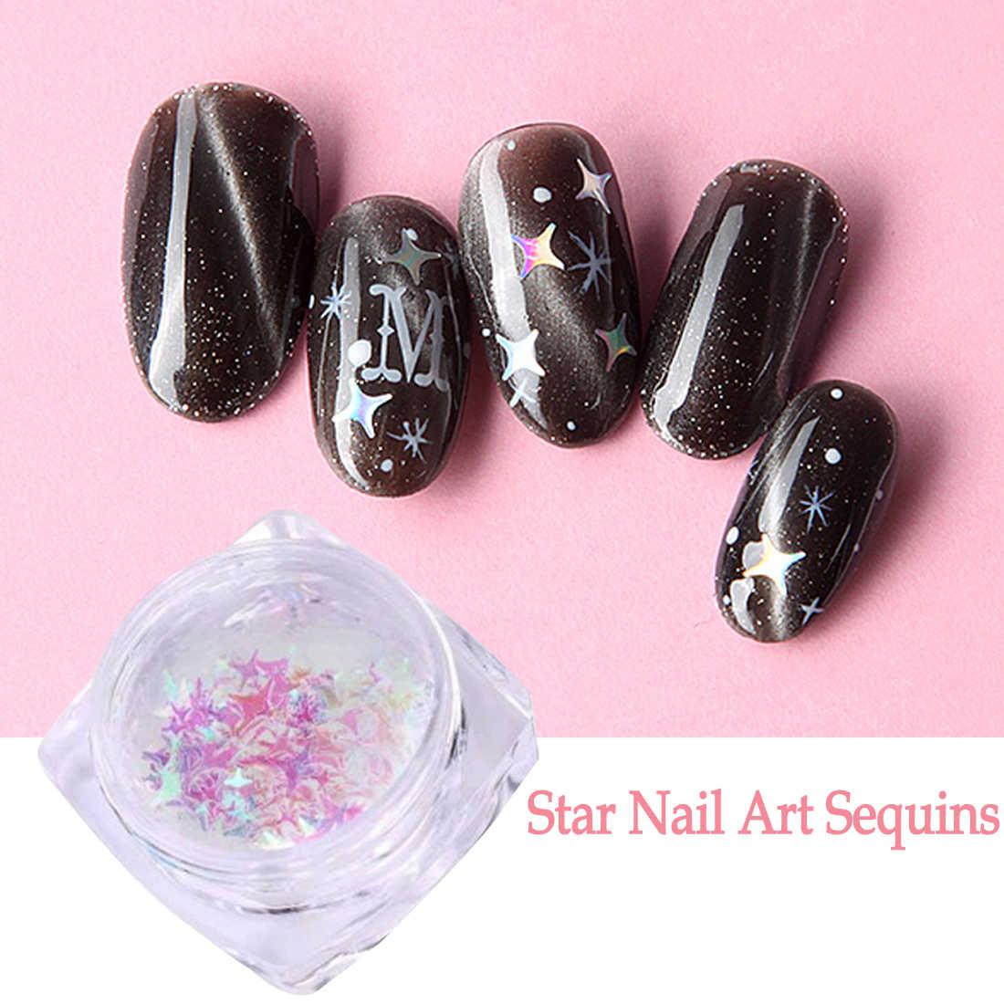 Nail Art Dekorasi DIY Paillette Berkilauan Nail Flake Fantasy 3/4mm Mix Ukuran Empat Sudut Bentuk Bintang Lucency cantik Sequin