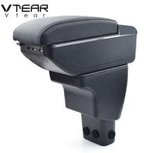 Автомобильный подлокотник Vtear, для Hyundai i10, кожаный подлокотник, usb ящик для хранения, декоративный центральный пульт, автостайлинг 2018