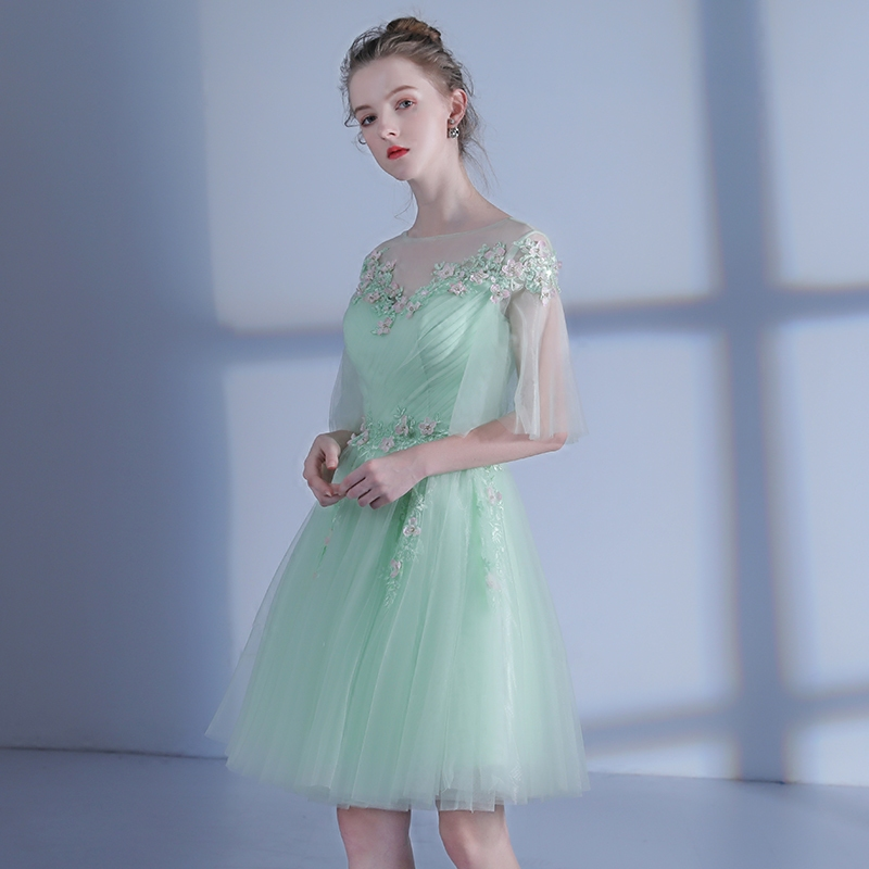 c6a9ec4f4cd SSYFashion Summer New Fresh Light Green Short Cocktail Dress Sweet Lace  Flower Banquet Party Gown Custom Formal Dresses-in Cocktail Dresses from  Weddings ...
