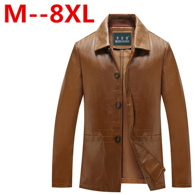 8XL 7XL 6XL 5X Winter Leather Jackets Mens Black Leather Jacket Coats Male Faux Leather Jackets Suit Collar Male Casual Overcoat