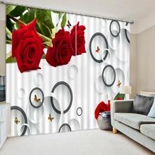 Custom 3D Printing Curtain Modern Photo rose circle 3D Window Curtains Bedroom Living room Curtiain