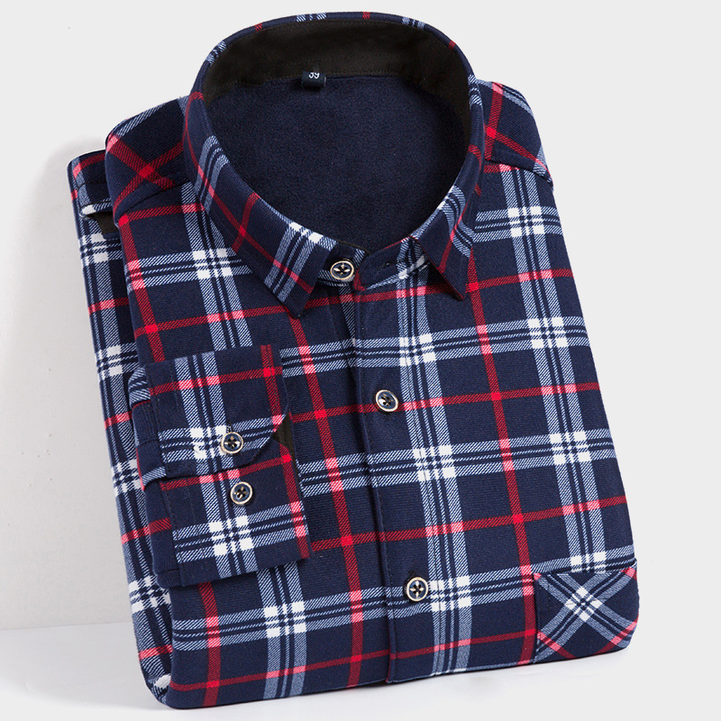 new 2018 double sided velvet men s warm shirt Thickening and wool shirt