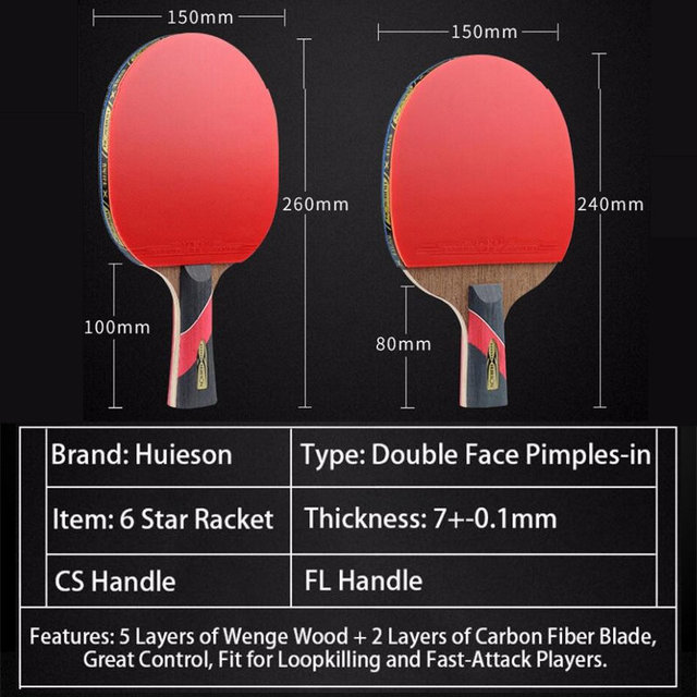 6 Star Table Tennis Racket Wenge Wood Carbon Fiber Blade Sticky Rubber Ping Pong