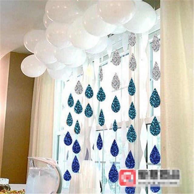 3sets/lot New Cute Cartoon Paper Flags Raindrop Shape Glitter Garland Home  Decor DIY Garland