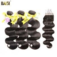 BAISI 100% Unverarbeitetes Europäisches Reines Haarverlängerungen Körperwelle 8-28 zoll 3 Bundles mit Verschluss Freies Verschiffen, natürliche Farbe