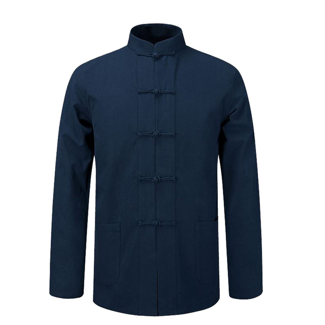 3e55a2f047 Long Sleeve Cotton Shirt Traditional Chinese Clothes Tang Suit Coat  clothing Kung Fu Tai Chi Uniform Autumn Thin Jacket for Men