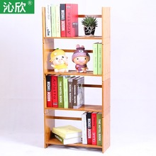 Cheap bamboo wood table, free assembly bookcase shelf bookcase simple small office desktop wood child