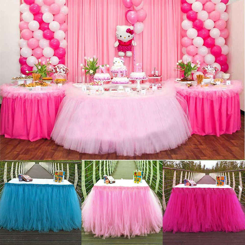 Decoracion De Mesa Para Baby Shower.Tutu Tulle Table Skirts Baby Shower Decoration For High