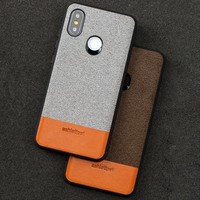 Wangcangli magnetic adsorption phone case for xiaomi 8 Canvas stitching Cowhide all inclusive case phone protective case