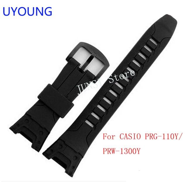 95838c7af6e04 UYOUNG Watchband dla Casio PRG-110Y PRW-1300Y opaski do zegarka czarny pasek