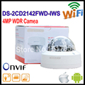 Free shipping english version Hikvision Dome IP Camera POE DS-2CD2142FWD-IWS 4MP 120dB WDR Fixed Dome with wifi Network Camera