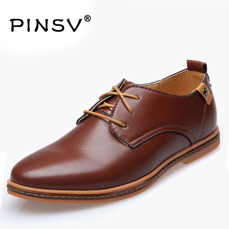 PINSV Size 38-48 PU Leather Shoes Men Dress Shoes Luxury Brand Oxford Shoes For Men Flats Zapatos Hombre Chaussure Homme dxkzmcm men casual shoes lace up cow leather men flats shoes breathable dress oxford shoes for men chaussure homme