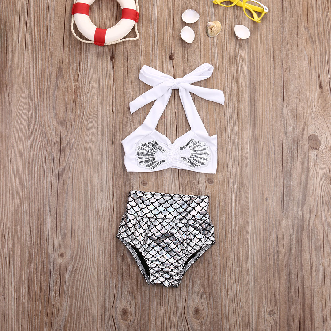 2pcs Baby Set Kid Baby Girl Clothes Summer Sleeveless Bikini+Mermaid Underwear Baby Clothes Set Bathing Suit