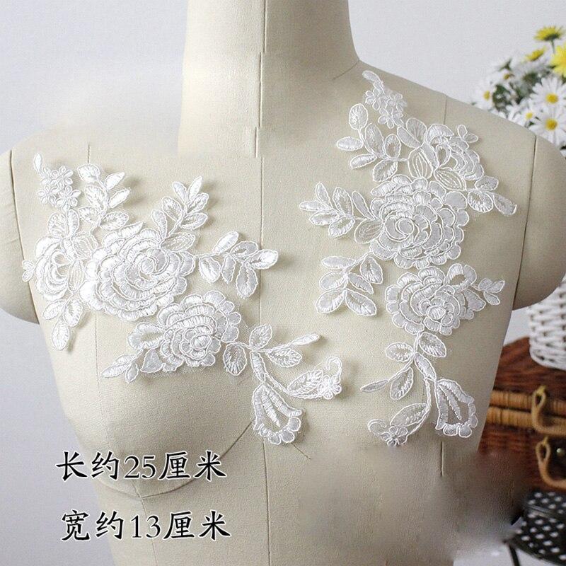 10 Pieces Elegant Off White Crochet Rose Flower Lace Applique Bridal Embroidery Neck Patches