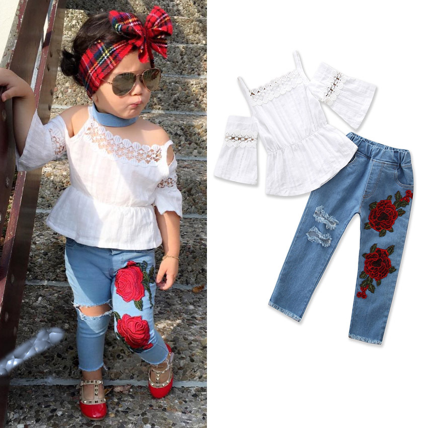 2018 Girls Strap Lace T-shirt Top+Embroidered Jeans Summer European Style Kids Clothes Fashion 1-5 Year Wear Girls Clothes Sets girls summer sets 100 page 5