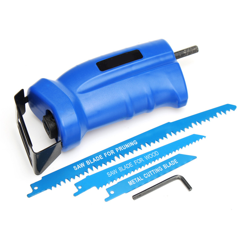 Reciprocating Saw Attachment  Convert Adapter For Cordless Electric Power Drill Cutting Trimming Tool+3 Reciprocating Saw BladesReciprocating Saw Attachment  Convert Adapter For Cordless Electric Power Drill Cutting Trimming Tool+3 Reciprocating Saw Blades