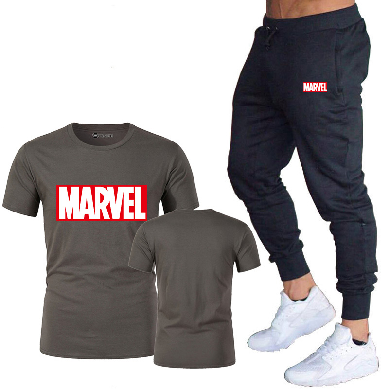 HTB1sMkEJ7voK1RjSZFwq6AiCFXaw New summer hot brand sale men's MARVEL suit T shirt + pants two piece casual sportswear printing shirts gym fitness pants 2019