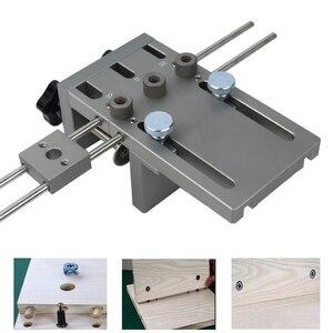 Image 5 - Localizador profesional de punzón de carpintería Plantilla de espigas de madera guía de perforación ajustable para muebles DIY herramientas de posición de conexión