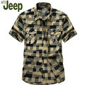 2016 AFS JEEP hombres de moda de verano camisa de manga corta ocasional sólido camisa oxford hombres Battlefield Jeep Grand yardas verano 60