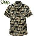 2016 AFS JEEP homens verão moda casual-shirt de manga curta sólida oxford camisa homens Battlefield Jeep Grand metros verão 60