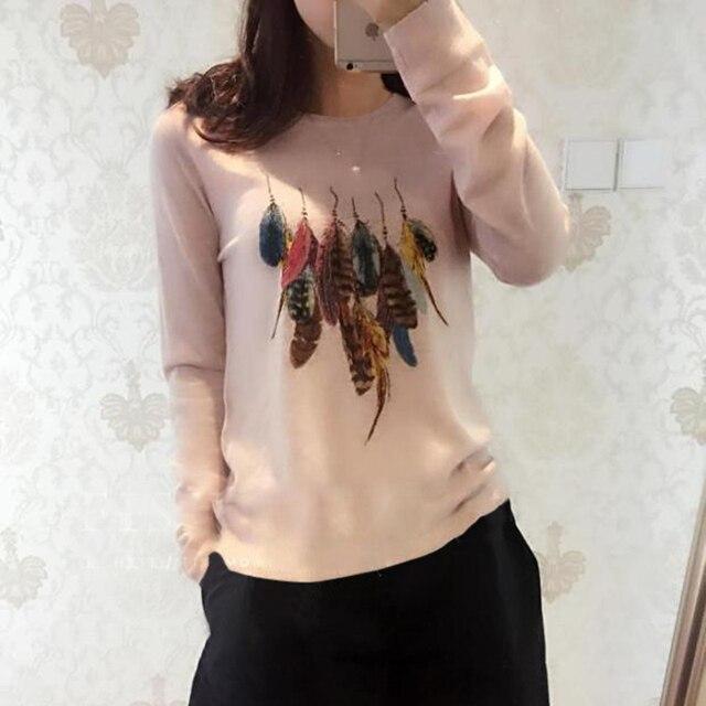 812c48947927 BELIARST Printemps Nouveau col rond pur Pull En Cachemire femmes plume  impression pull Chandail chemise De