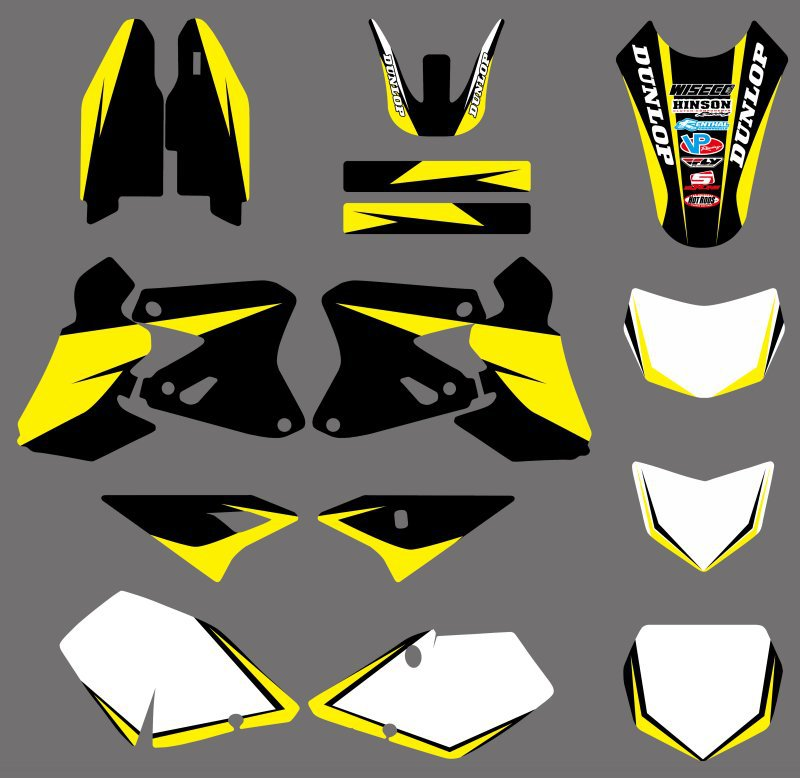0359 Yellow & White New Style TEAM GRAPHICS & BACKGROUNDS DECALS Stickers For Suzuki DRZ400 DRZ 400 2000-2012 DR-Z400 DR-Z 400 motorbike brake front pads for suzuki rm rmz drz dr 125 250 350 400 450 650 dirt bike fa185 dr z 400 drz400 00 09