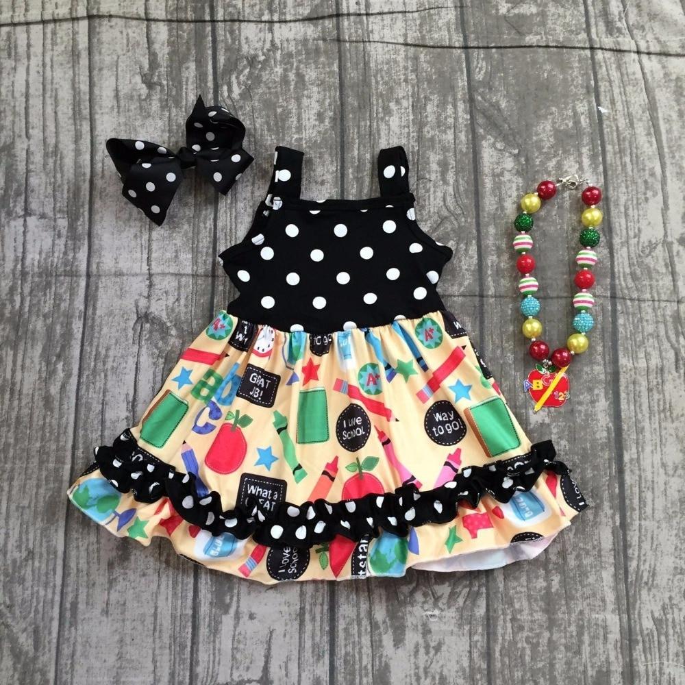 Bébé filles robe d'été filles retour à la robe d'école enfants ABC robe d'école vêtements filles à pois robe d'école avec accessoires