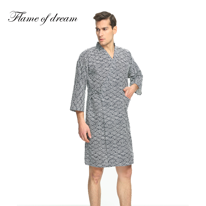 Cotton material Kimono Japanese Kimono Men Bathrobe Men Bathrobe Mens Bathrobe 1015 ...