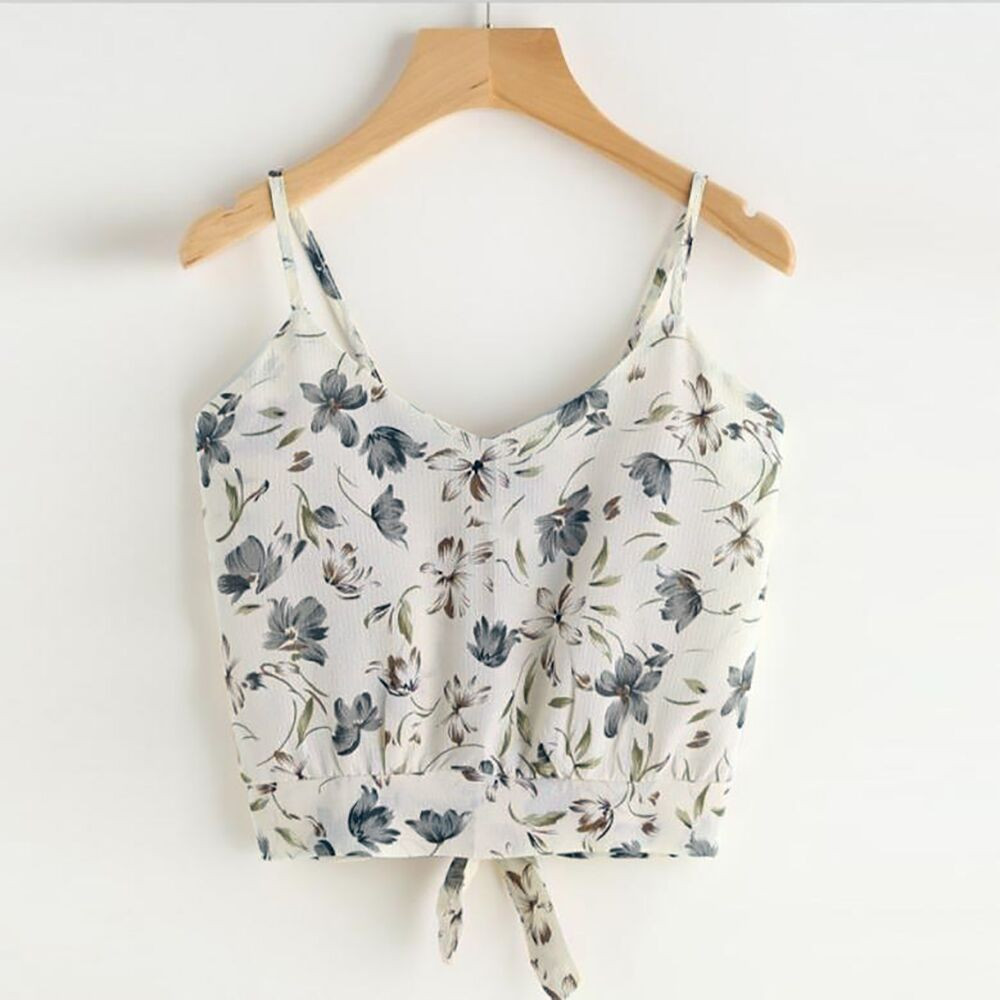 Women's Self Tie Back V Neck Print Floral Crop Cami Top Camisole Blouse