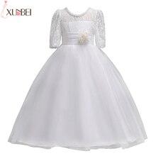 Милые белые кружевные платья с цветочным узором и короткими рукавами для девочек; коллекция года; нарядные платья для девочек с поясом; платья для первого причастия для девочек